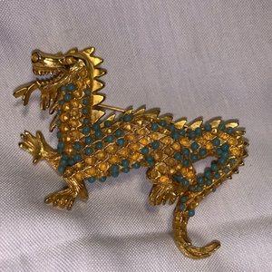 Rare HTF hattie carnegie roaring dragon brooch